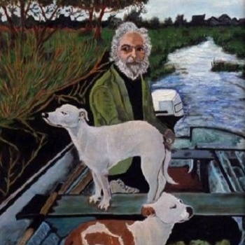 A white bearded man in a river boat with his two dogs. A Painting.